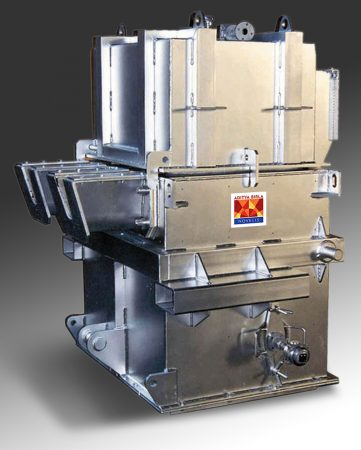 Overview of a PDBF® Deep Bed Filter unit of small capacity (model 5) used to treat the liquid metal of a continuous strip casting line