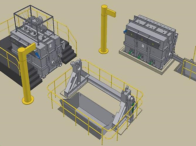 "Typical layout of a PDBF® Deep Bed Filter and its associated stations, namely: - One PDBF® Deep Bed Filter under ""in line"" casting operation - One tilting station, where the PDBF vessel is temporary installed to cool, to be emptied by dropping the bed and the grids (when their lifetime is over) in a container and to be cleaned. - One pre-heating station where the PDBF® unit is firstly equipped with a new set of bed and grids, and then pre-heated. When the system includes two PDBF® units, then one is under ""in line"" casting operation while the other one is under ""off line"" preparation (emptying, cleaning, pre-heating, etc…), so as to avoid any idle time."