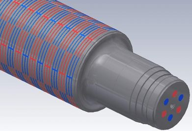 Roll cooling system with checkered pattern for homogenous surface temperature